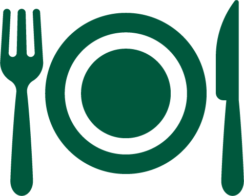 A green graphic of a plate saddled by a fork and a knife.