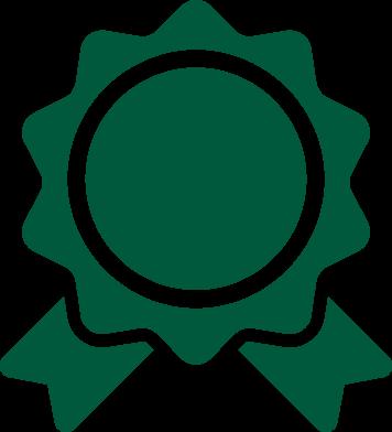A green graphic of an award ribbon.