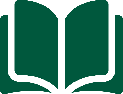 A green graphic of an open book.