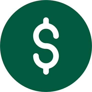 A green graphic of a dollar sign inside a circle.