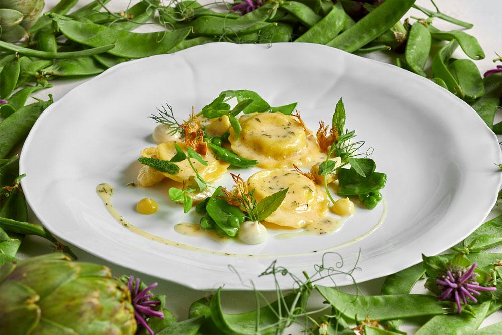 Potato-Leek and Mascarpone Ravioli with Spring Peas, Artichokes and Lemon Essence