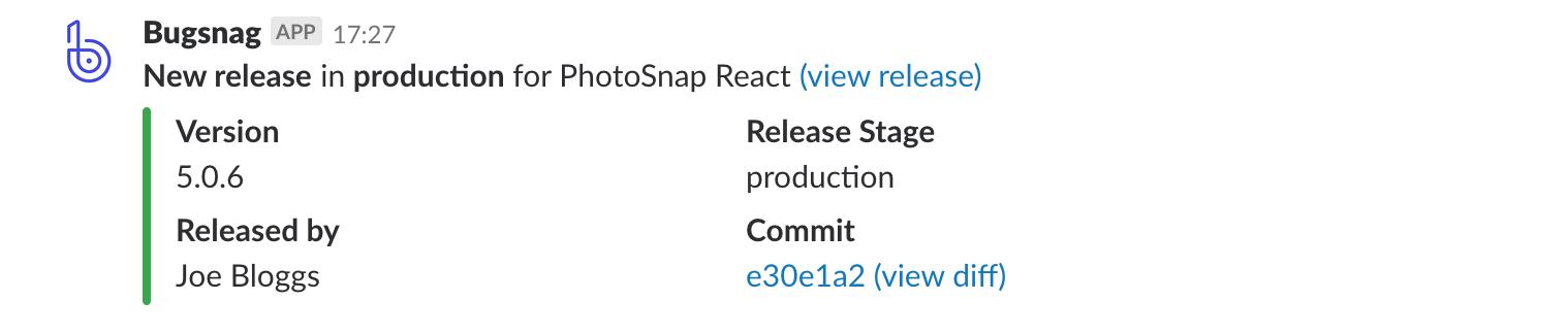 Bugsnag release notification in Slack