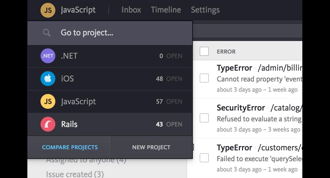 Compare projects menu