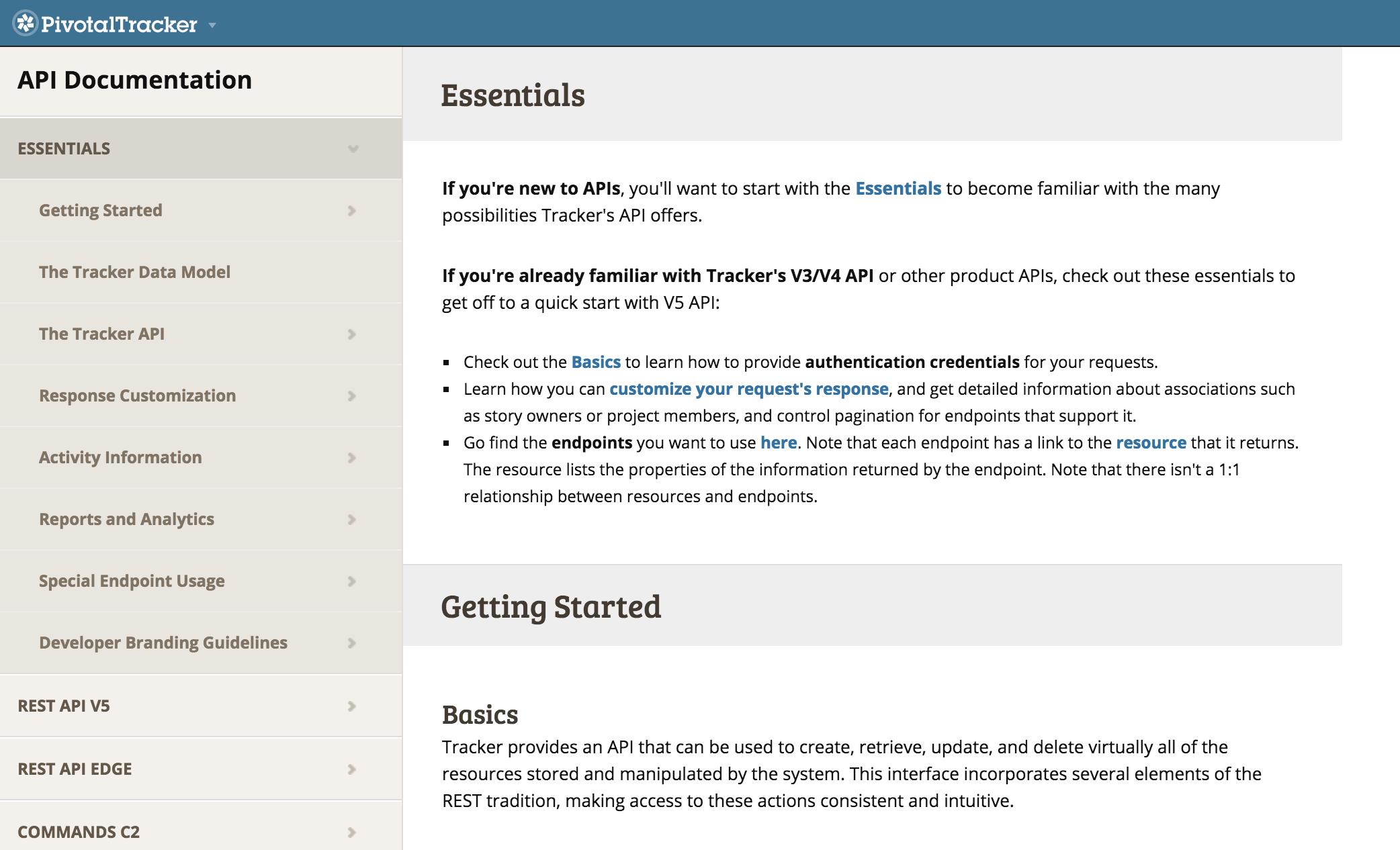 Pivotal Tracker API