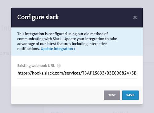New Slack integration configuration