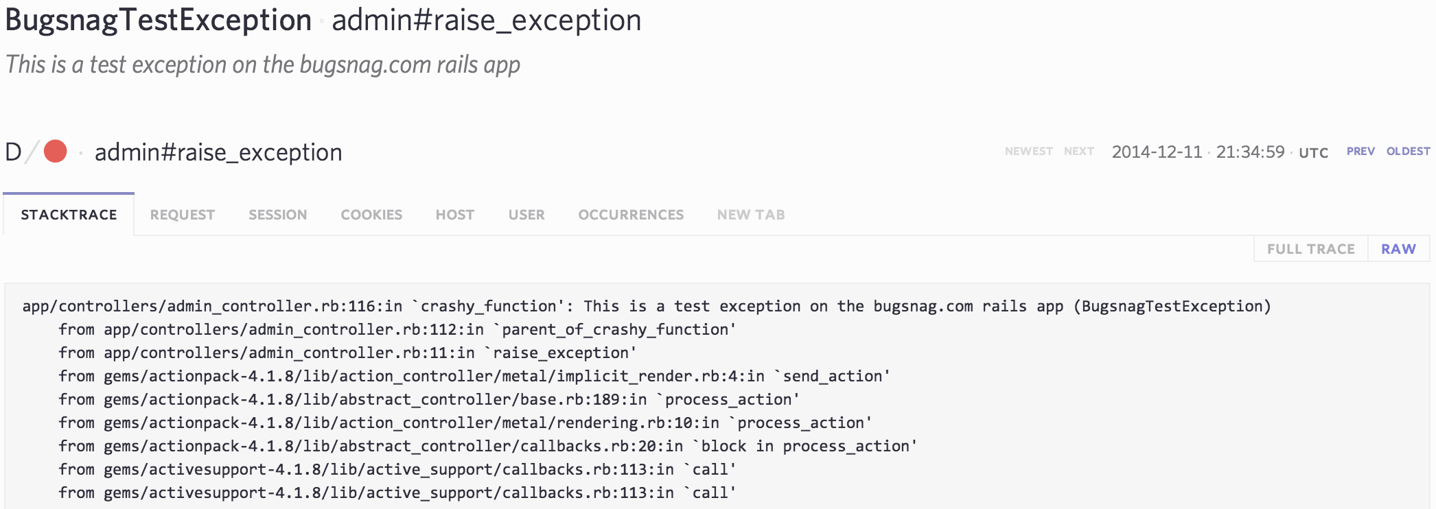 Ruby raw stacktrace