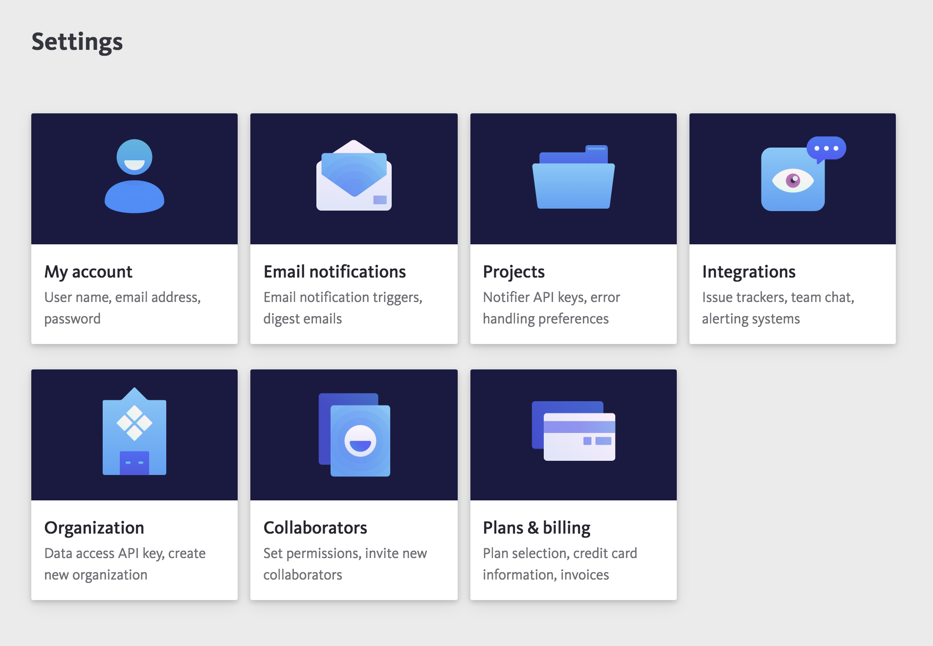 Bugsnag settings redesign