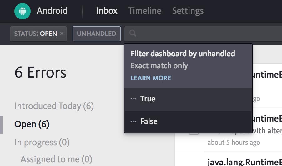 Unhandled error filter