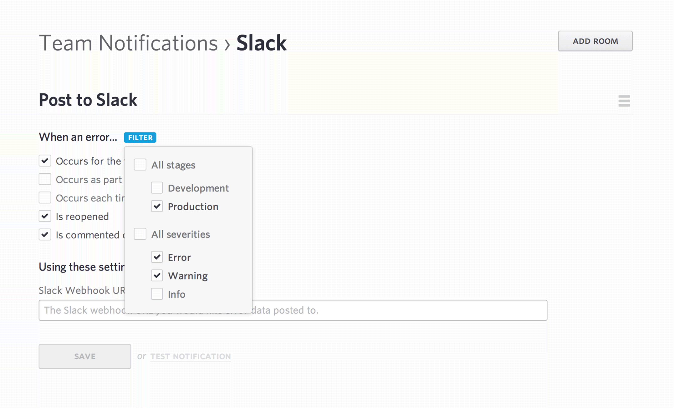 screen shot of the settings panel for slack notifications with filters
