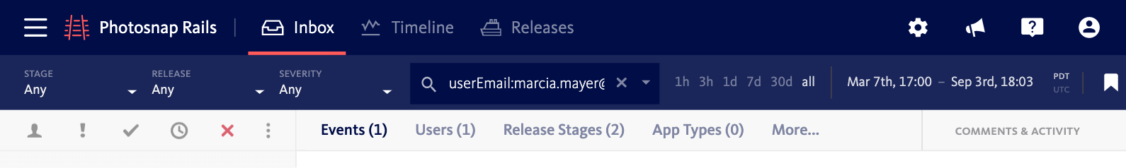 Filter for user email when responding to support requests