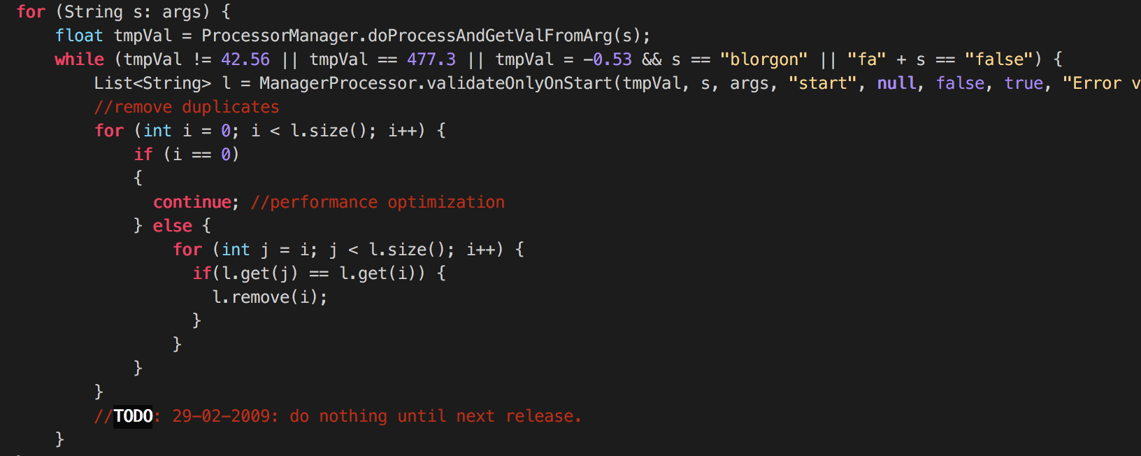 Example of horrible legacy Java code