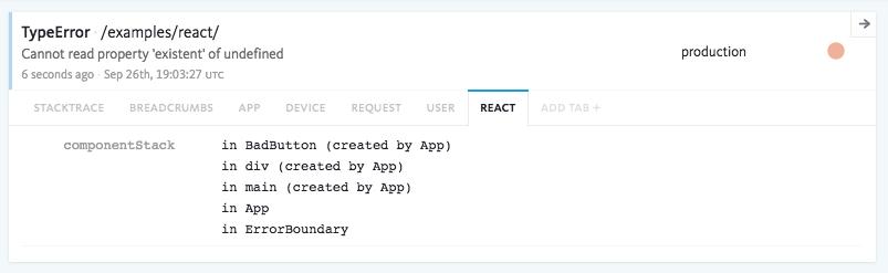 Example React error in the Bugsnag dashboard