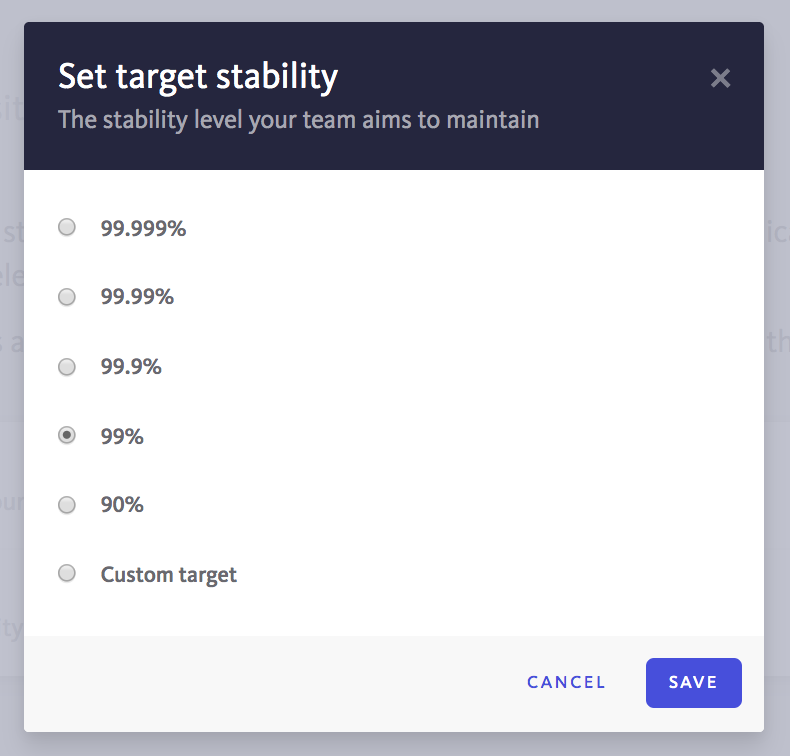 Stability target configuration
