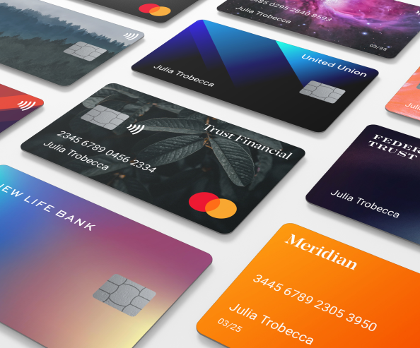 An isometric collection of different colored debit cards.