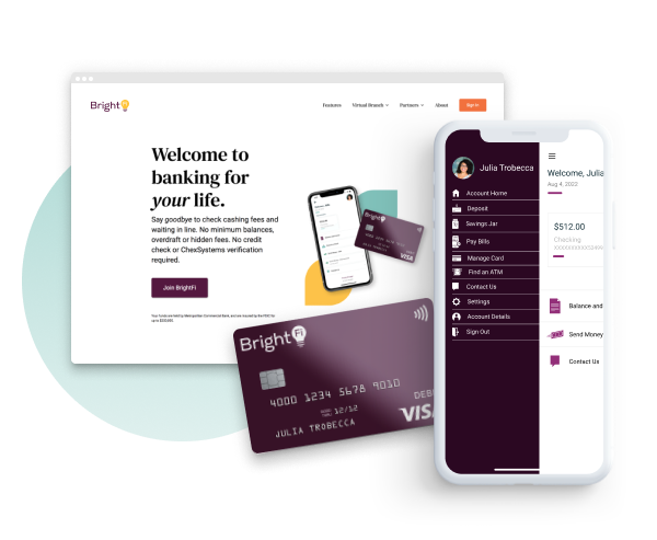 A screenshot of a website, a debit card and a banking app homepage.