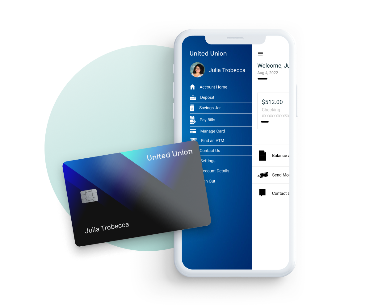 A debit card and smartphone with a banking app open.