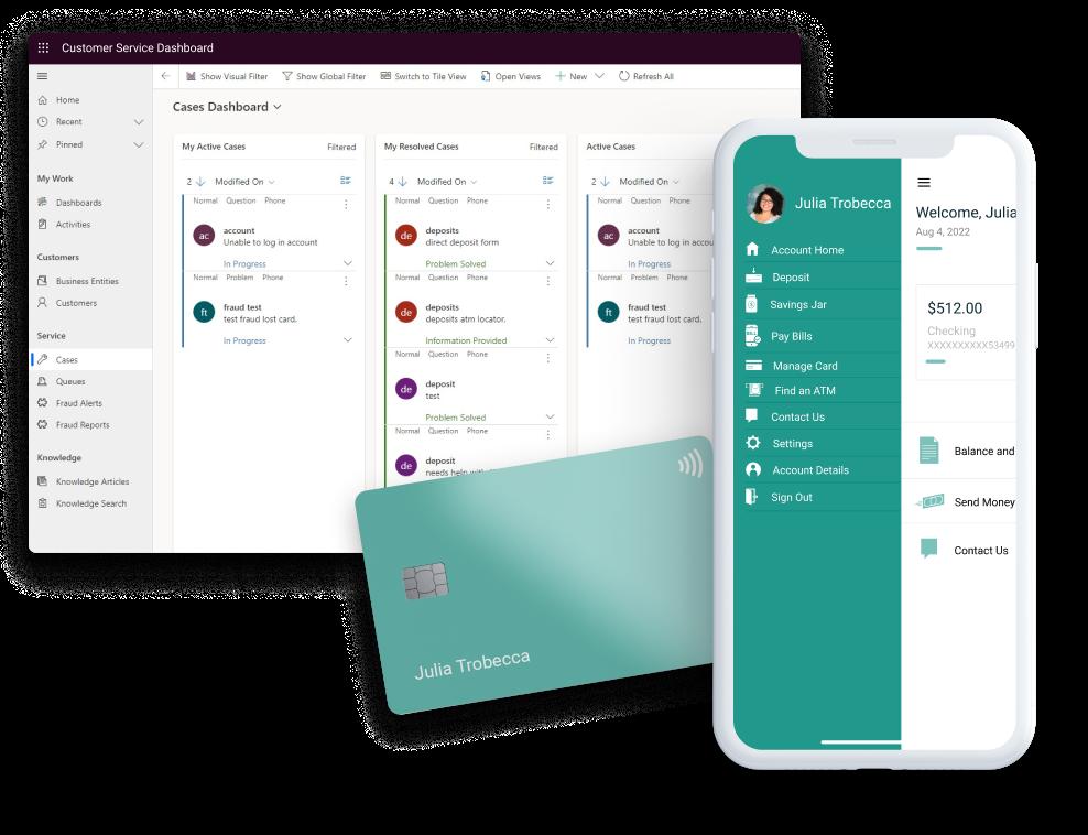 A desktop banking dashboard, a debit card and a banking app homepage screenshot.