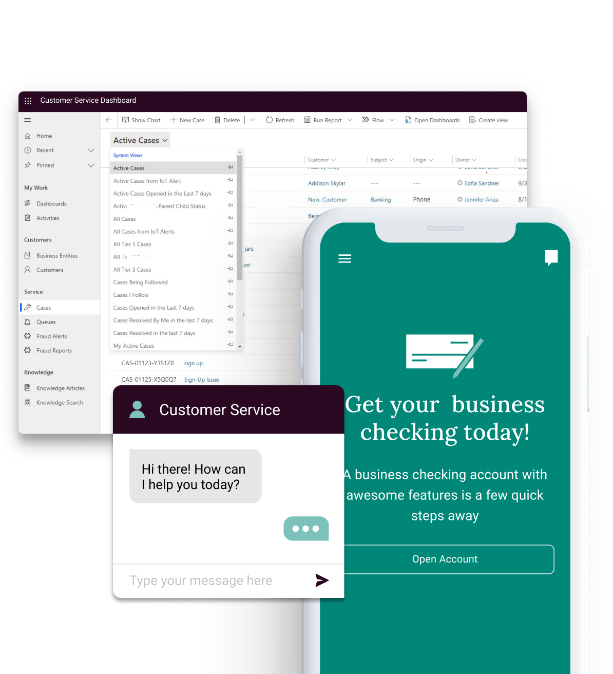 Images of a banking CRM tool, a customer service portal and banking app.