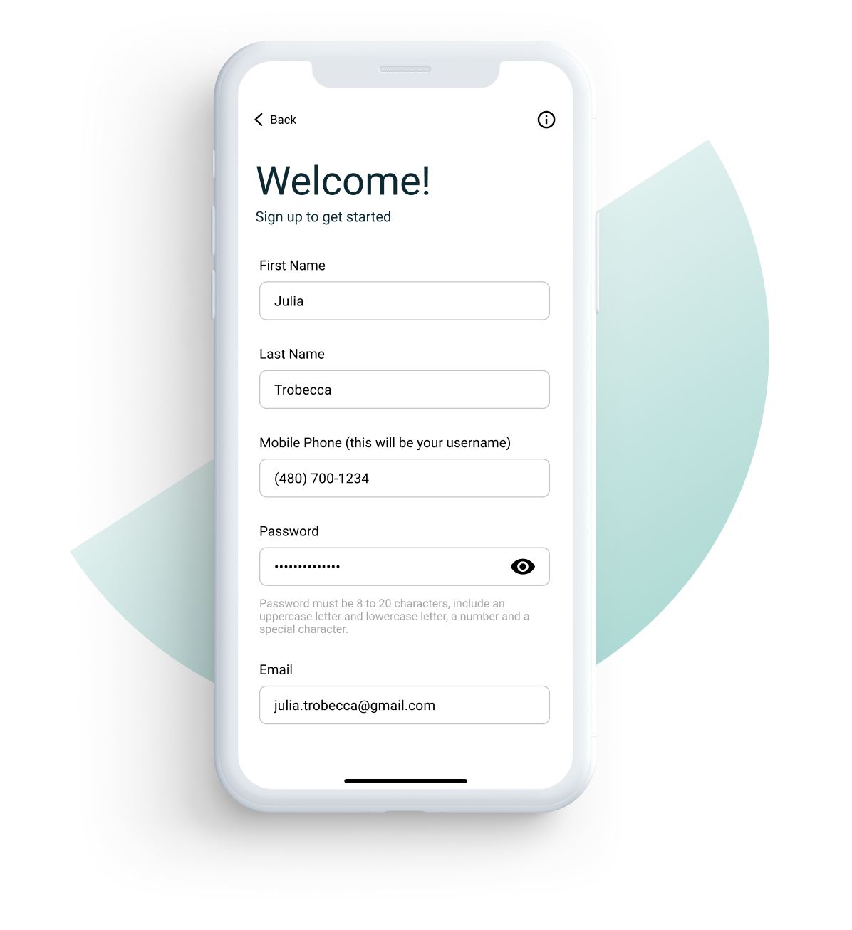 Screenshot of banking app welcome page.