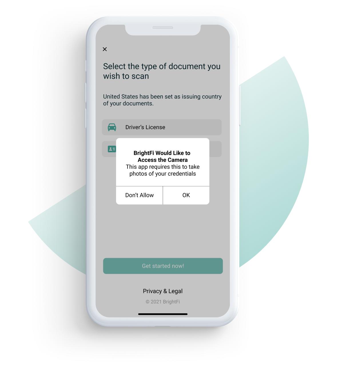 Screenshot of a digital banking app identity verification page.