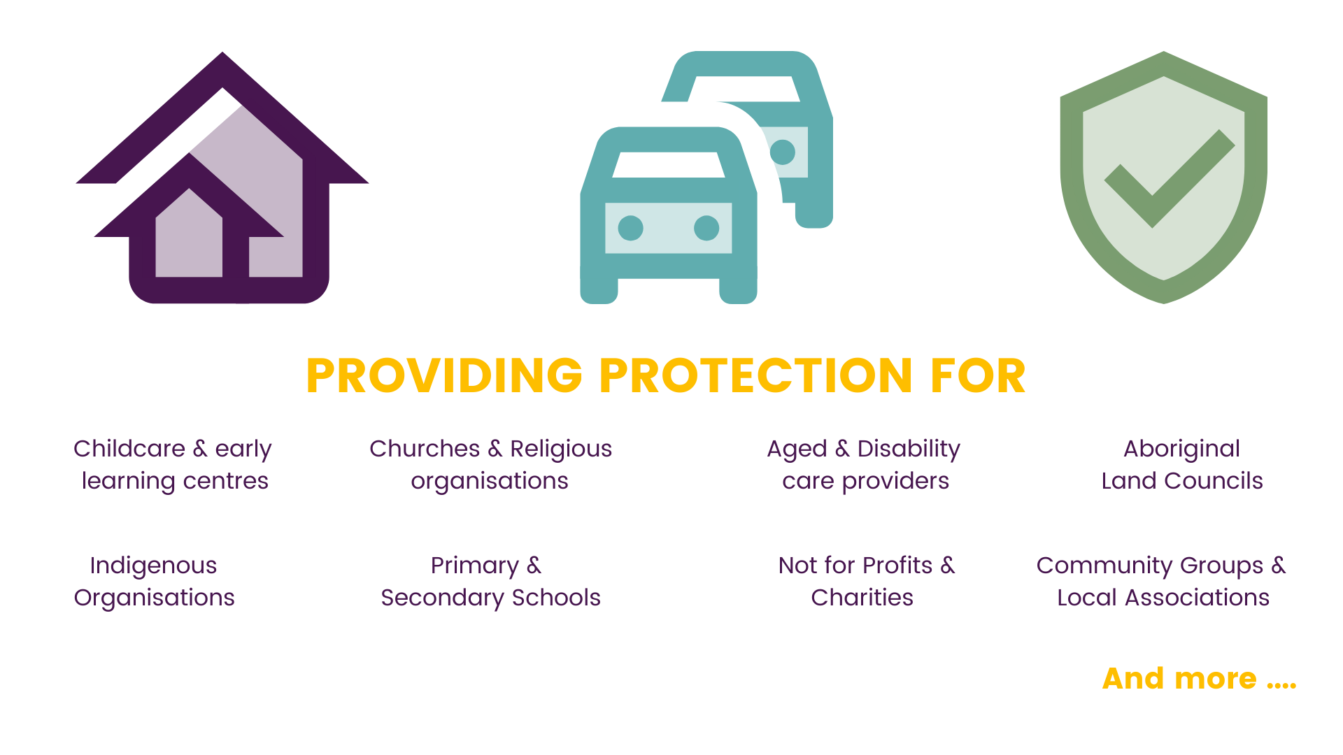 Alternative Insurance products for childcare, aged care, NFPs, charities, churches & faith based organisations.