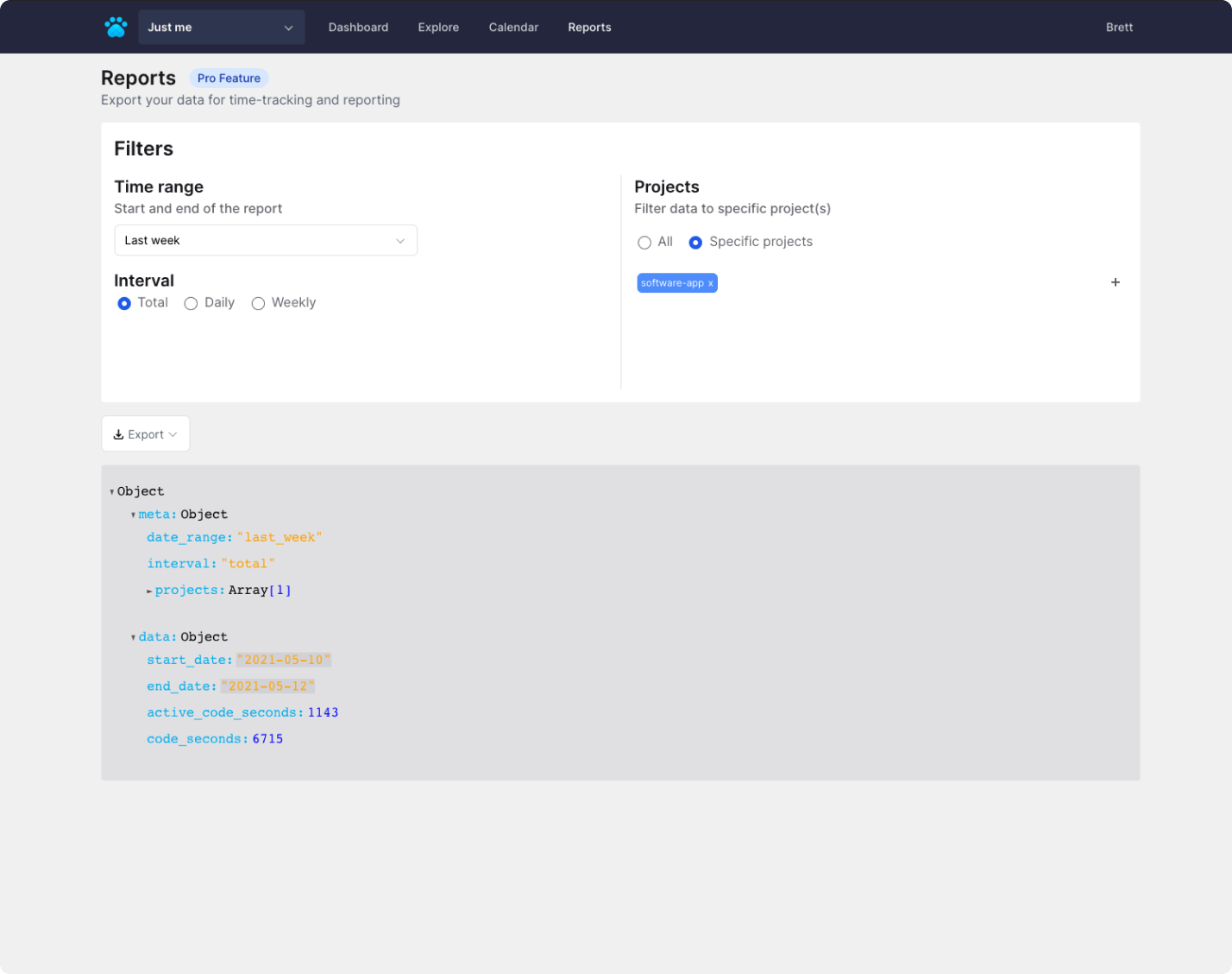 Project reports view