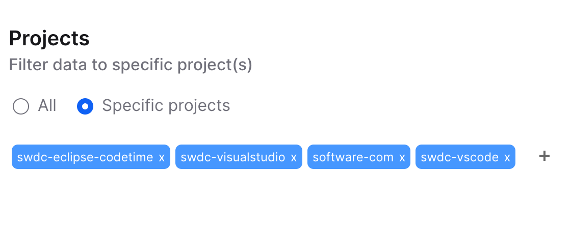 Projects in the Software web UI