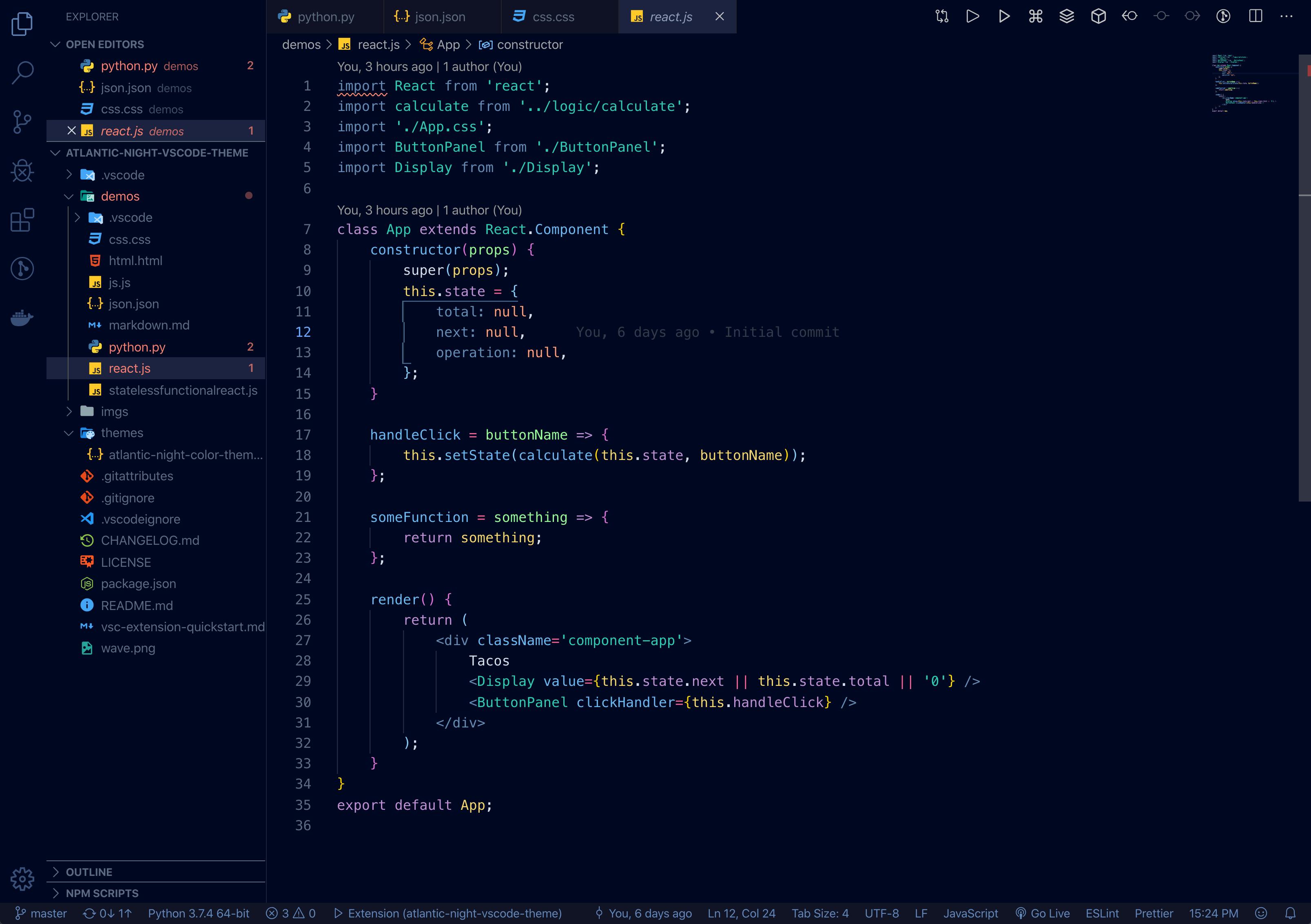 Atlantic Night VS Code theme