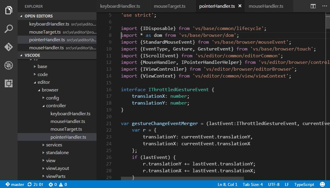 The basic user interface of VS Code