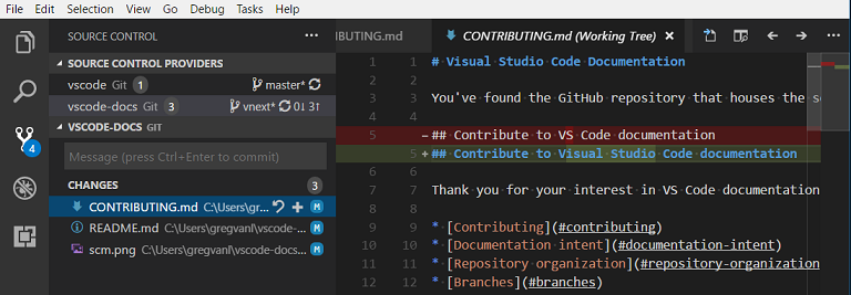 VS code integrated source control management