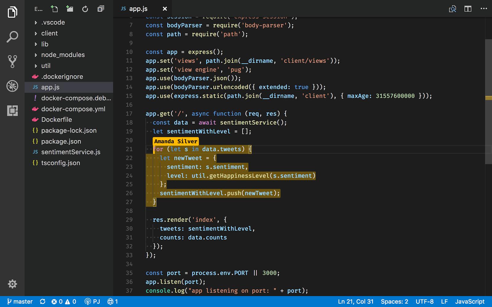 Microsoft Live Share screenshot