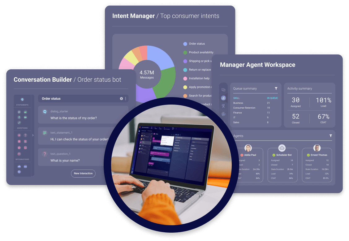 DIsplaying how Conversation Builder, Intent Manager, and Manager Agent Workspace can all work together