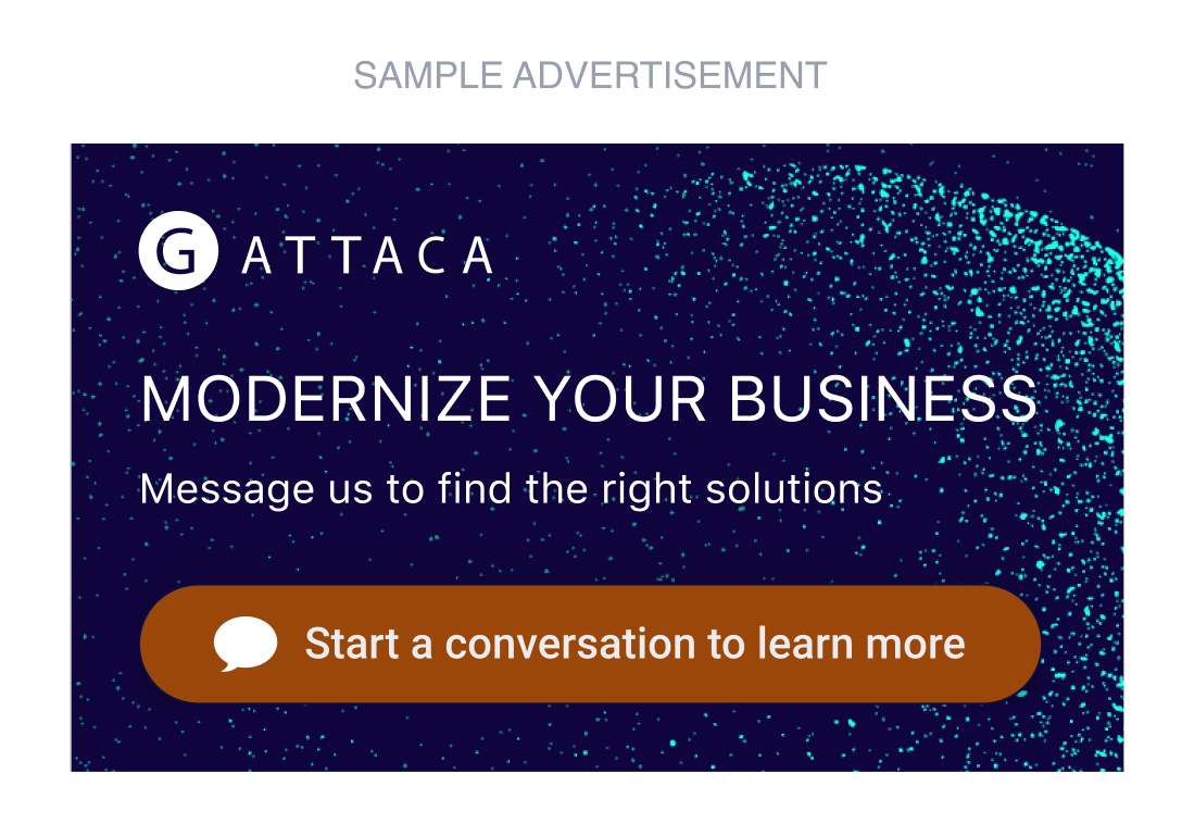 A sample ad where you can start a conversation with a click