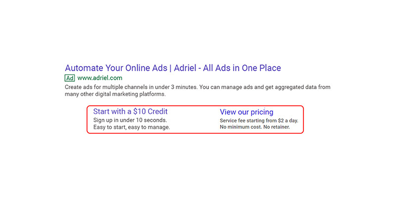 Google Search Ad site link extensions