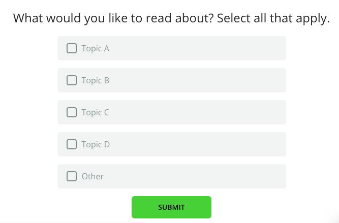 Multiple choice survey question in survicate