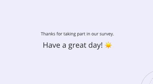 thank you screen in survicate surveys