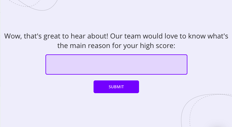 follow-up question to promoters in an nps survey