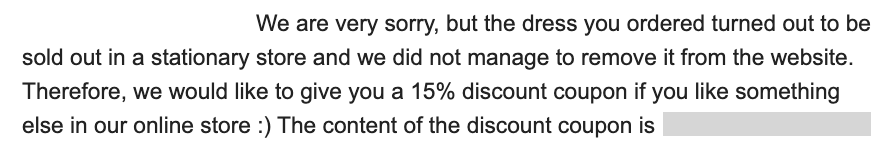 email with coupon code as an apology for missing item