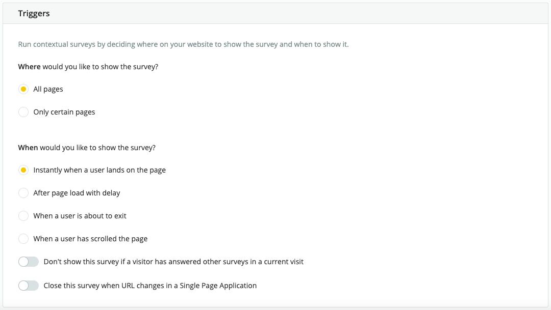 trigger setup for survicate website surveys