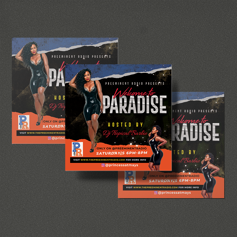 Three square flyers displayed on a dark grey background