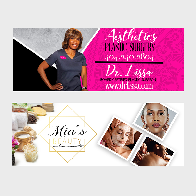 Social media banners for surgery company and spa