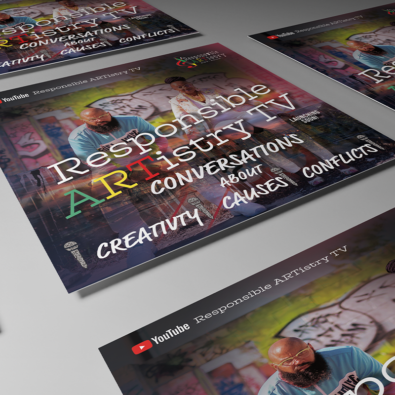 Flat lay mockup of multiple square flyers