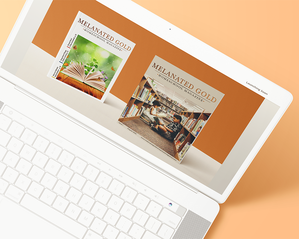 Mockup of website on tilted laptop computer on peach background
