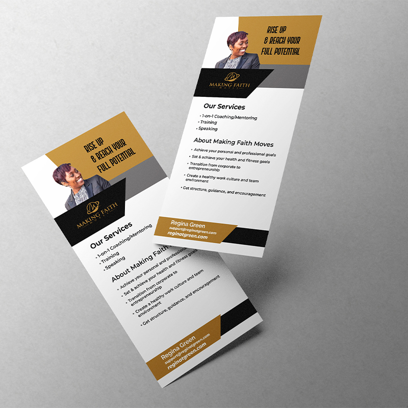 Mockup of two rack cards floating on a grey background
