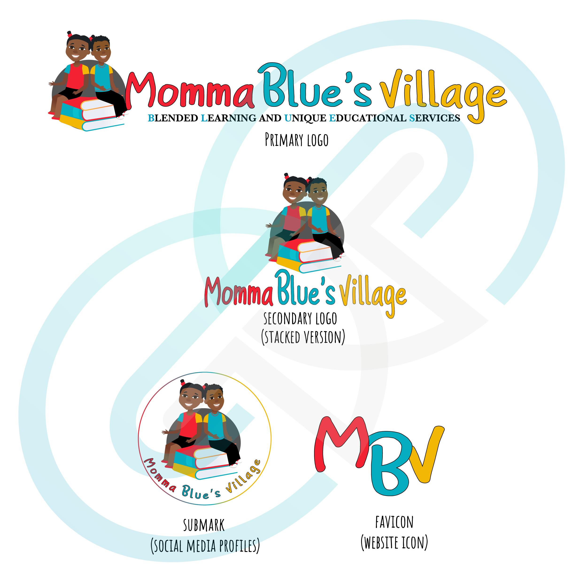 Momma Blue's Village logo design with different variations