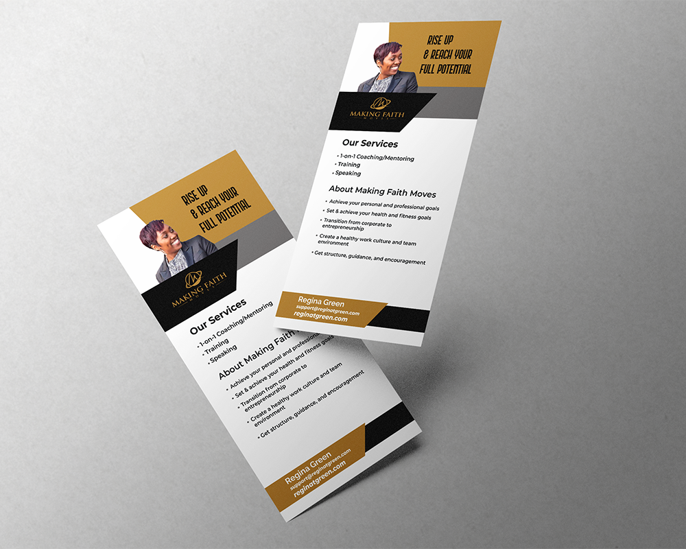 Display of two rack card flyers floating in air on a grey background
