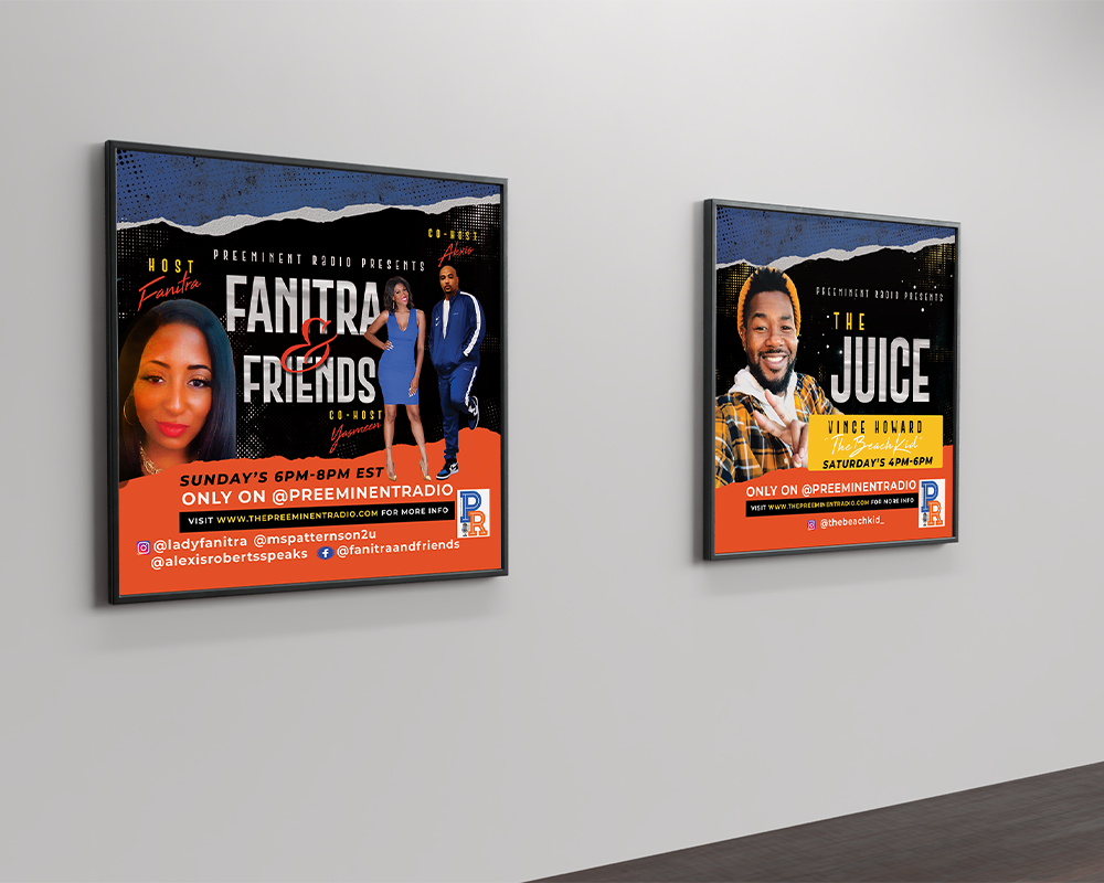 Framed display of two squared flyers on a grey wall