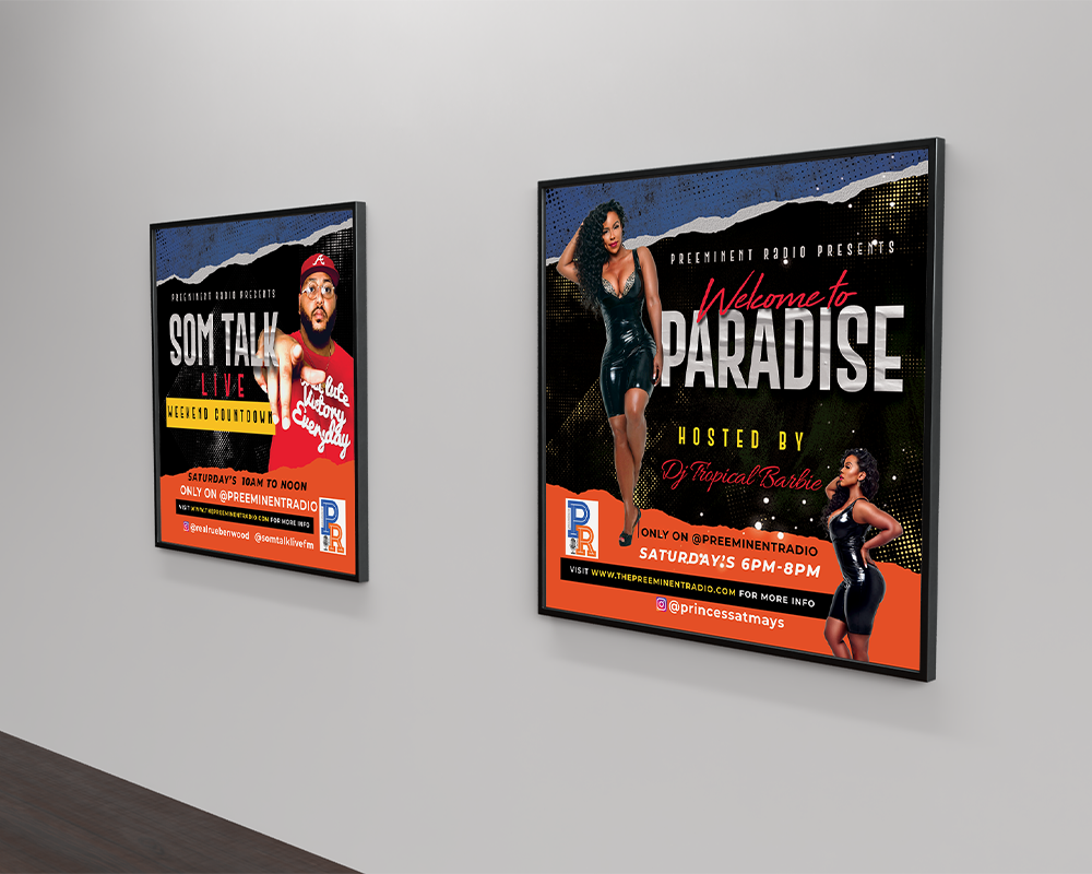 Framed display of two squared flyers on grey wall