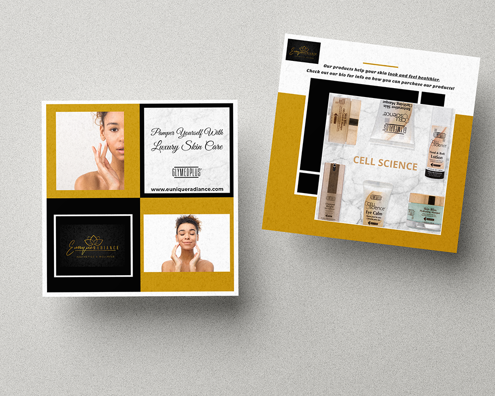 Black and gold themed square flyers for spa business on light grey textured background