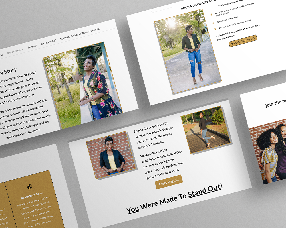 Display of multiple web pages with text and images of an African American woman on light grey background